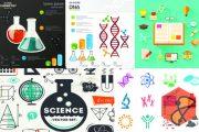 مجموعه تصاویر وکتور Science, Medicine, Chemistry, Dna, Physics