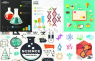 مجموعه تصاویر وکتور Science, Medicine, Chemistry, Dna, Physics