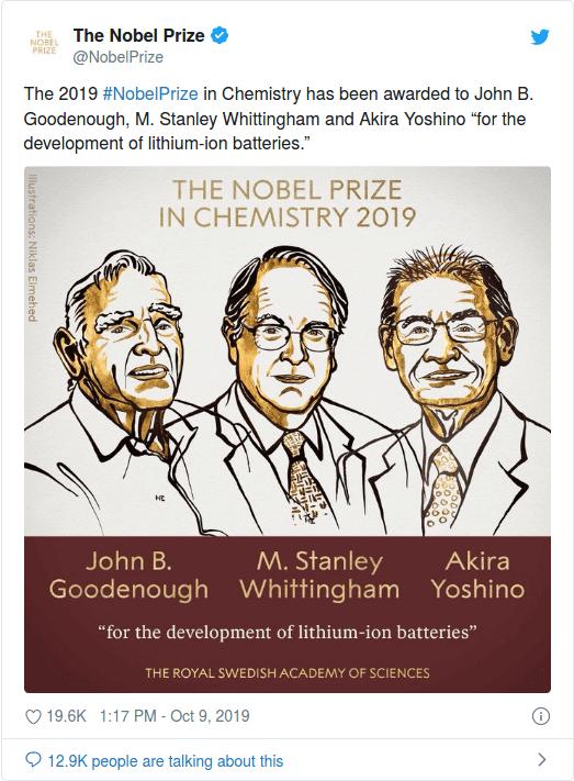 nobel prize in chemistry 2019 scientists